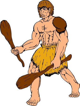 stone age: cartoon illustration of a caveman holding club on isolated white background