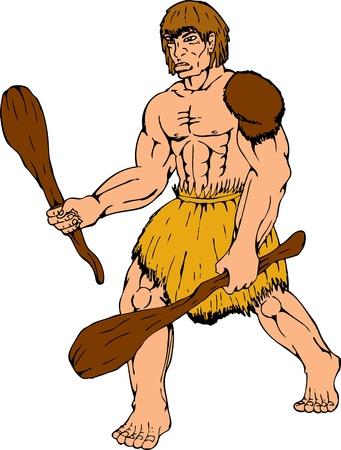 edad de piedra: ilustración de dibujos animados de un club de la celebración de hombre de las cavernas en el fondo blanco aislado Vectores