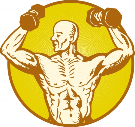 illustration of male human anatomy body builder flexing muscle on isolated background woodcut style set inside circle