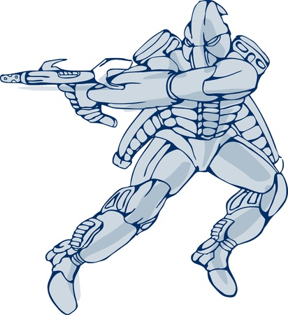 Illustration of a mecha robot warrior jumping firing gun side view on isolated white background Vector