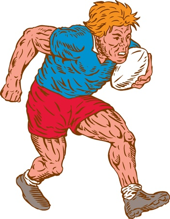 Illustration of a rugby player running with ball on isolated white background done in woodcut style  Vector