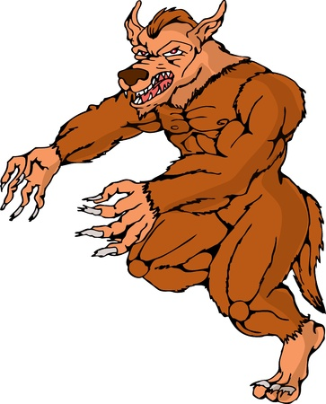 illustration of a cartoon werewolf wolfman running attacking on isolated white background Vector