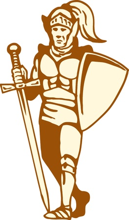 illustration of a knight standing with sword and shield on isolated white background Illustration