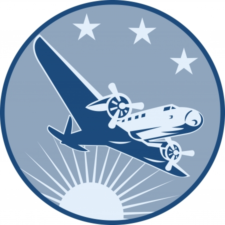 Illustration eines Jahrgangs Flugzeug Verkehrsflugzeug fliegt mit Sonnenschliff und Sterne im Kreis im Retro-Stil fertig eingestellt.