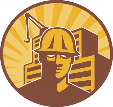 bauarbeiterhelm: Illustration eines Bauarbeiters mit Sonnenbrille und Helm mit Kran und Geb�ude im Hintergrund Satz im Kreis im Retro-Stil getan.