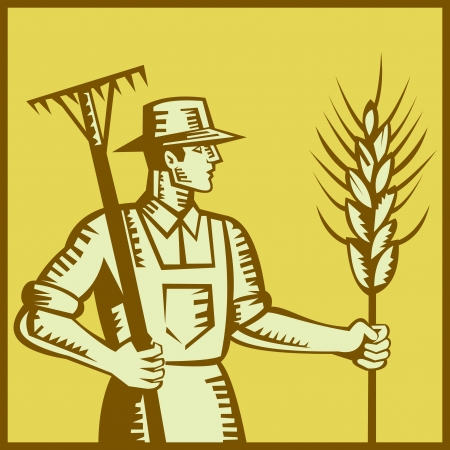 Illustration of a farmer worker holding a rake and wheat set inside square done in retro woodcut style. Stock Vector - 14029344
