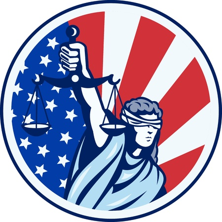 Illustration of lady with blindfold holding scales of justice with American stars and stripes flag set inside circle done in retro style.