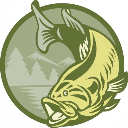 largemouth bass: Ilustraci�n de un salto de los peces r�balo de boca grande con el lago de agua del r�o y monta�as en el fondo hecho en estilo retro