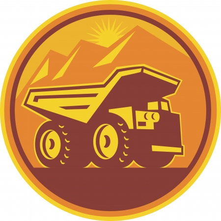 circl: Illustration of a mining dump dumper truck lorry viewed from side set inside circle done in retro style on isolated background  Illustration