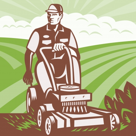 lawn mower: Illustration of a gardener landscaper riding ride-on lawn mower mowing done in retro woodcut style
