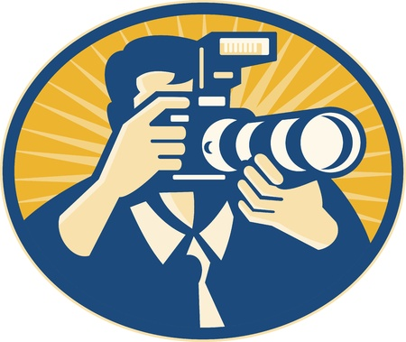 flash: Illustration of a photographer shooting DSLR camera with flash and zoom lens set inside ellipse done in retro style