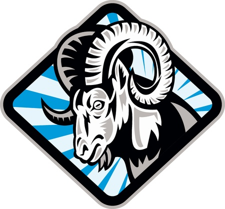 Illustration of a bighorn ram sheep goat set inside diamond shape on isolated background