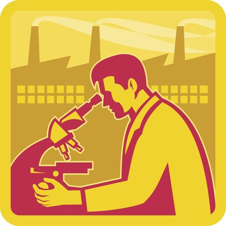 Illustration of a scientist worker chemist researcher with factory building in background set inside square done in retro style  Vector