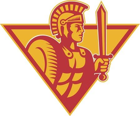 soldati romani: Illustrazione di un soldato che combatte centurione romano con spada e scudo fatto in stile retr� xilografia trova all'interno triangolo