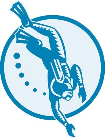 Ilustración de un conjunto de buzo natación buceo dentro del círculo hecho en estilo retro grabado en madera