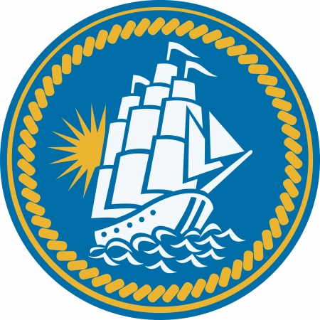 tall ship: Illustration of a sailing tall ship galleon at sea set inside circle with rope done in retro woodcut style