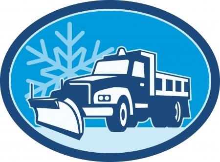 Ilustracja ciężarówki pług śniegu orki z zimą płatki śniegu w tle ustawić wewnątrz koła wykonane w stylu retro