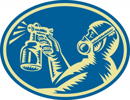 Illustration of a spray painter spraying paint spray gun done in woodcut retro style set inside ellipse viewed from side  Stock Vector - 14029307