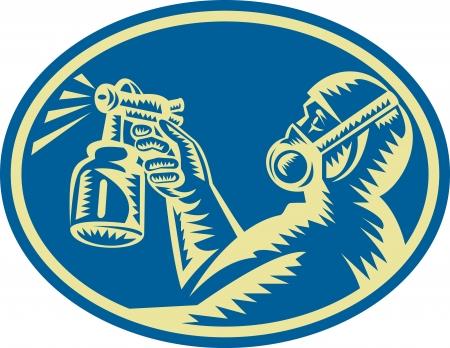 elipse: Ilustra��o de um pintor de pulveriza��o pulverizador tinta spray feito em conjunto estilo retro xilogravura dentro elipse visto do lado
