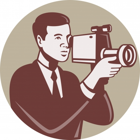 handycam:  Illustration of a male photographer shooting with video camera handycam video cam done in retro style set inside circle