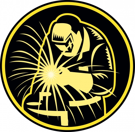 Illustration of a welder holding welding torch with visor facing front set inside circle done in retro style