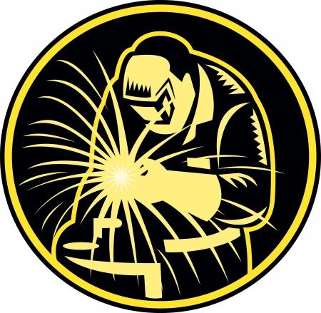 soldador: Ilustración de un soplete de un soldador de soldadura mantiene con el conjunto de la visera hacia delante dentro del círculo hecho en estilo retro Vectores