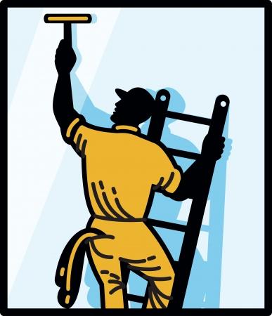 cleaning window: Illustrazione di un lavoratore lavavetri pulizia scala con spatola visti da set posteriore quadrato interno fatto in stile retr�