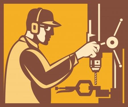 fabrikarbeiter: Illustration einer Fabrikarbeiterin Betreiber Betriebssystem Arbeiten mit Bohrmaschine von einer Seite im Retro-Stil Holzschnitt in eckigen gesetzt getan angesehen Illustration