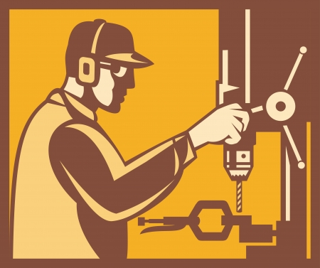 drill bit: Illustration of a factory worker operator operating working with drill press viewed from side done in retro woodcut style set inside square