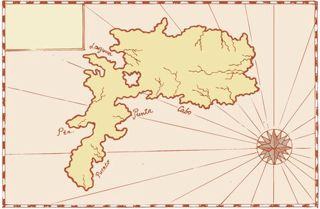 Illustration of a treasure map showing island with coast and compass star done in vintage style  Vector