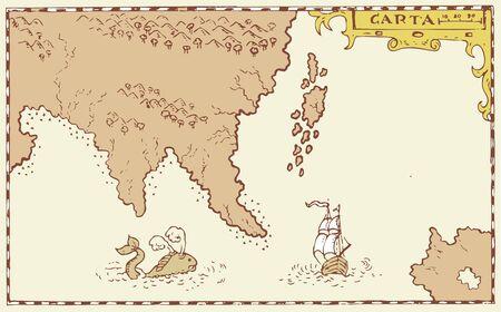 carte trésor: Illustration d'une carte au trésor montrant l'île avec la côte et d'une boussole étoiles fait dans le style vintage Illustration