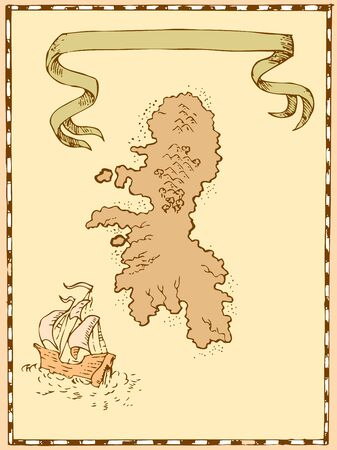 galleon: Illustration of a treasure map showing island with sailing ship galleon and ribbon done in vintage style  Illustration