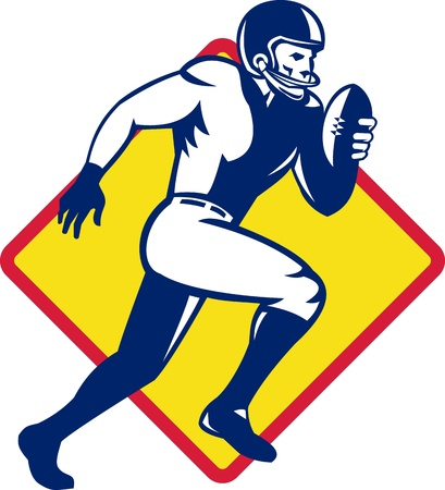 football player: Illustration of an american quarterback football player running with ball set inside diamond shape done in retro style.