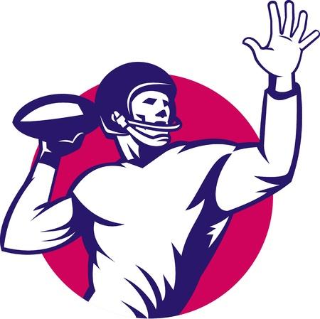 gridiron: Ilustraci�n de un jugador de mariscal de campo de f�tbol americano que pasa gritando sistema de la bola dentro del c�rculo hecho en estilo retro.