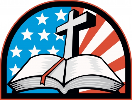 Illustration of the holy bible with cross and American flag stars and stripes. Vector