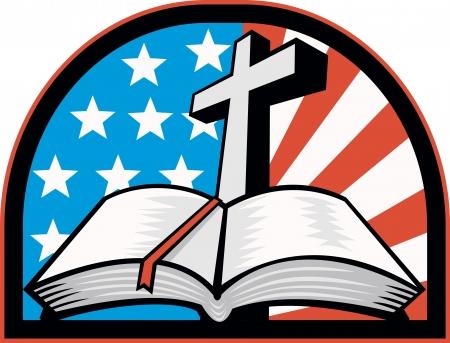 cruz religiosa: Ilustraci�n de la Santa Biblia con la cruz y las estrellas de la bandera americana y las rayas.