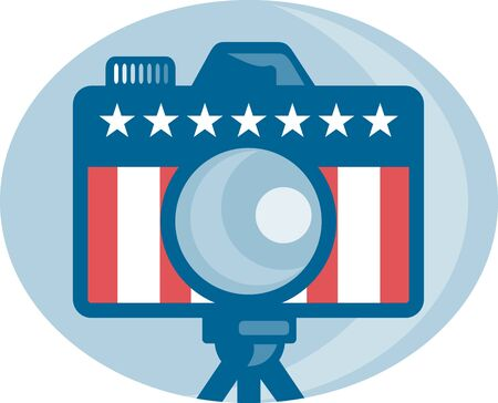 Illustration of a dslr camera with american stars and stripes flag set inside circle done in retro style