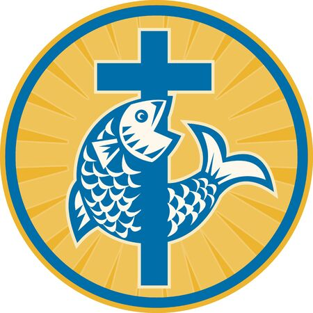 Illustration of a fish jumping with Christian cross set inside circle done in retro style on isolated white background a sign symbol of christianity and christian faith  Vector