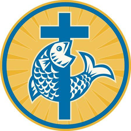 pez cristiano: Ilustración de un pez saltando con Christian conjunto cruz dentro del círculo hecho en estilo retro en el fondo blanco un símbolo de signo de la fe cristiana y el cristianismo