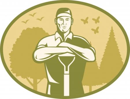 paysagiste: Illustration d'un agriculteur jardinier paysagiste Illustration