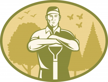 shovels: Illustration of a gardener landscaper farmer