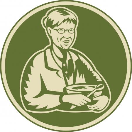 Illustration eines alten Senior reife Frau Oma Großmutter das Kochen mit Rührschüssel nach vorne im Retro Holzschnitt Stil getan im Kreis gesetzt