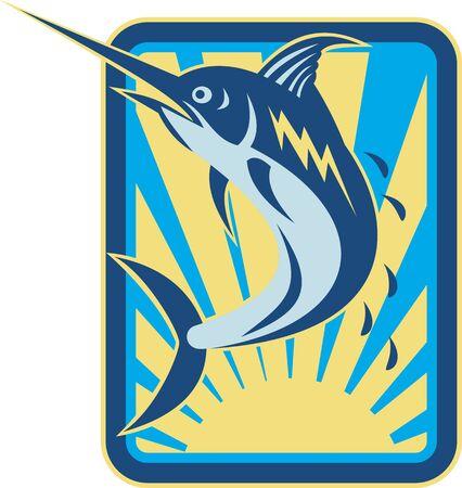 pez espada: Ilustraci�n de un pez marlin azul saltando hecho en estilo retro grabado conjunto dentro de un rect�ngulo