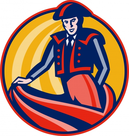bullfighter: Illustration of a matador bullfighter with cape set inside circle done in retro style  Illustration