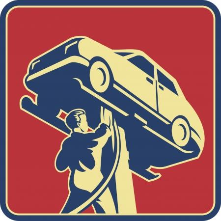 onderhoud auto: Illustratie van een monteur technicus, auto reparatie bekeken vanuit lage hoek set tussen vierkante gedaan in retro stijl