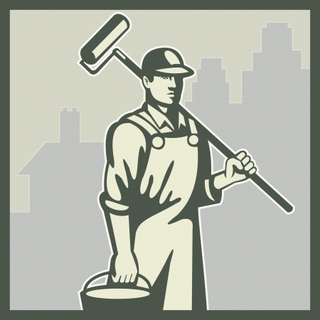 Illustration of a house painter worker tradesman with paint roller and bucket viewed from front with residential house and office building in background set inside square done retro style  Vector
