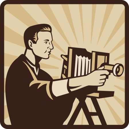 bellow: Illustration of a photographer shooting a vintage bellow camera viewed from side done in retro style set inside square  Illustration