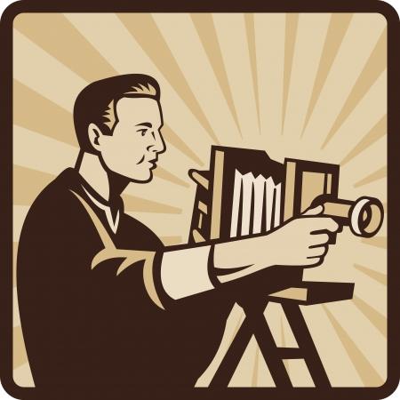 bellow: Ilustraci�n de un fot�grafo disparando una c�mara de fuelle vendimia visto desde el lado hecho en el conjunto de estilo retro en el interior cuadrada
