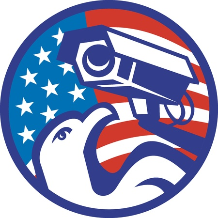 Illustration of an american bald eagle with surveillance security camera with stars and stripes flag set inside circle done in retro style  Vector