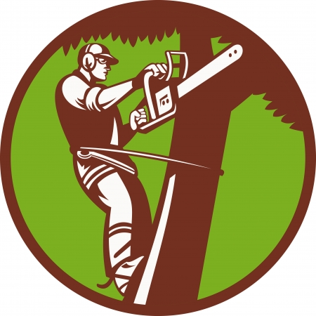 Illustration of a tree surgeon arborist trimmer pruner cutting with chainsaw climbing tree set inside circle done in retro style  Illustration